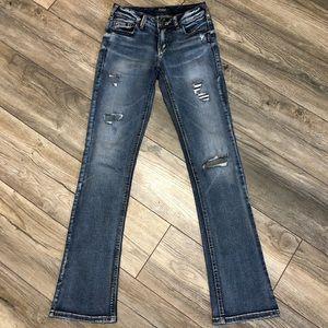 Pants - Silver Aiko slim boot cut jeans
